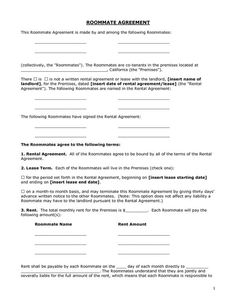 Printable Sample Roommate Agreement Form Form