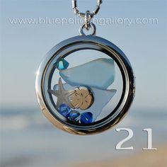 $24 - Sand Dollar Charm, Starfish and Swarovski crystal Seaside Memory Locket necklace.