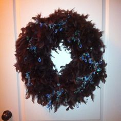 Wreath made from feather boa & foam ring