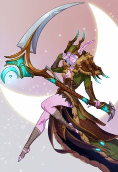In the name of elune I'll smite ya Line art practice. I can't believe balance druids get the coolest artifact weapon OuO Scythe Of Elune World Of Warcraft, Warcraft Movie, Warcraft Art, Fantasy Character Design, Character Concept, Character Inspiration, Character Art, Character Ideas, Concept Art