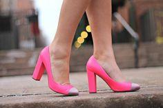pink cap-toe pumps #shoes