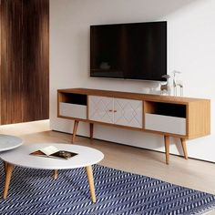 Manhattan Comfort 220952 – Trinity Mid- Century Modern TV Stand w/ Solid Wood Legs in Off White & Maple Cream – Mein Stil Tv Stand Metal And Wood, Living Room Tv, Living Room Furniture, City Furniture, Tv Stand And Coffee Table, White Tv Stands, Modern Tv Stands, Modern Tv Cabinet, White Tv Cabinet