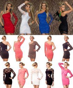 One-Shoulder Minikleid Abend-Kleid Dress Spitze Coktailkleid 34/36,36/38,38/40