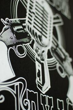 Deep Ellum Texas Pistols and Mic Screen Print $35