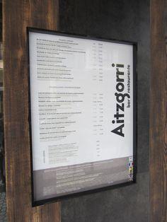 Carta y menú del bar restaurante Aitzgorri de Donostia-San Sebastián.  #restaurantes  #donostia  #gros   #sansebastian  #usandizaga  #carta