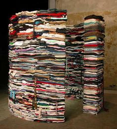 recycled clothing sculpture by Derick Melander