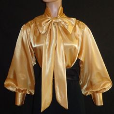 SHINY Gold LIQUID SATIN Bow BLOUSE Top HIGH NECK Vtg Style Shirt S M L 1X 2X 3X #tamarstreasures #Blouse #EveningOccasion