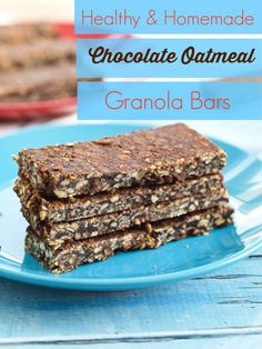 These homemade Chocolate Oatmeal Granola Bars taste a little like a no-bake cookie, but they are super healthy! This is a great snack idea or even breakfast. Great easy recipe that my kids think is a treat.