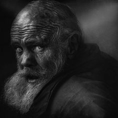 Limited Edition Print - YellowKorner. Old man, lines of life, beard, a face that have lived a life, powerful, intense eyes, portrait, photo b/w.