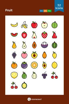 Cute Easy Drawings, Mini Drawings, Kawaii Drawings, Doodle Drawings, Bullet Journal Art, Bullet Journal Ideas Pages, Cute Pictures To Draw, Fruit Doodle, Fruit Icons