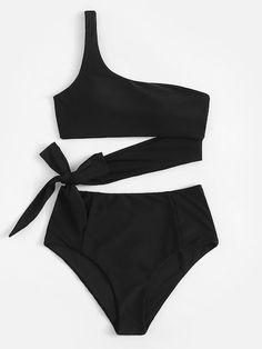 Set de bikini con lazo con un hombro-Spanish Romwe Bikini set with bow with one shoulder-Spanish Romwe Cute Swimsuits, Cute Bikinis, Women Swimsuits, Swimwear Fashion, Bikini Swimwear, Bikini Set, Summer Bathing Suits, Girls Bathing Suits, Jolie Lingerie