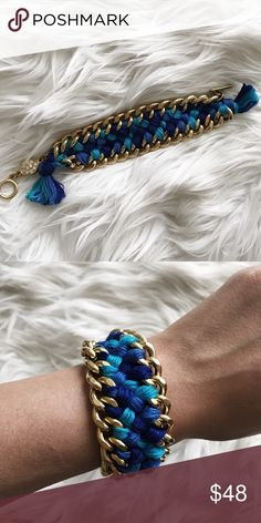 Anthropologie Blue Braided Chain Bracelet Anthropologie • NWOT • beautiful braided chain bracelet • very well made with rhinestone charm • toggle closure Anthropologie Jewelry Bracelets