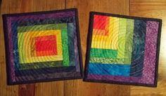 The Missing Piece: Pair of rainbow mug rugs