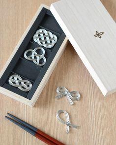 テーブルウェア 箸置き 結び 5個セット(箱付)