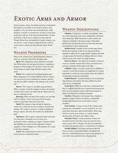 Weapons, Armor and Feats by The Middlefinger of Vecna