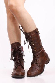 Womens Zip Up Combat Boots - Boot Hto