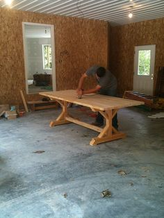 directions for farmhouse table with legs in the center rather than on the corners