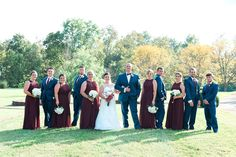 Beautiful Kentucky outdoor wedding at Equus Run Winery in Midway, KY.  Sunset bride and groom photos, mini bundt cakes, burgundy wedding, marsala wedding.  Keith & Melissa Photography, Lexington, Kentucky Wedding Photographers