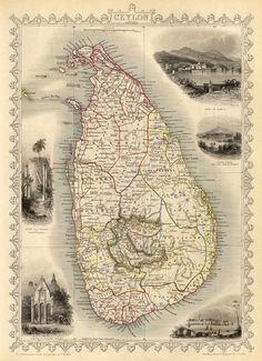 Carte de Ceylan Sri Lanka cartecarte vieux Fine art