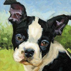 Boston Terrier, oil painting, Custom Pet Portrait from your photo, or oil painting Custom Dog Portraits, Pet Portraits, Illustrations, Illustration Art, Boston Terrier Art, Boston Art, Animal Paintings, Dog Art, Pet Birds