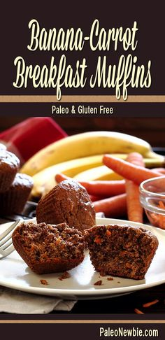 Awesome paleo and gluten-free muffins made with all-natural ingredients including fresh grated carrots, ripe bananas, and a little raw honey. Wholesome and so good!