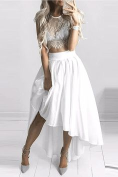 Two pieces of dress #Twopiecesofdress Lace Dresses #LaceDresses Party Dress #PartyDress Asymmetrica Dresses #Asymmetrica