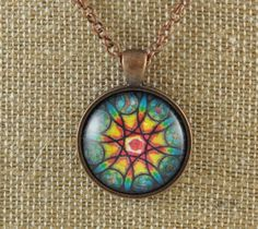 STAINED GLASS DESIGN PENDANT NECKLACE FREE SHIPPING #Pendant
