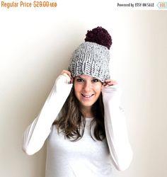 Pom Pom Hat Knit Chunky Bobble - $29
