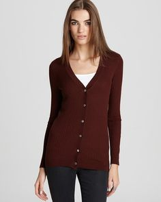 $119 Vince Ribbed Cardigan Womens Size M Brown Rayon Cashmere Blend MSRP 235 New Repair