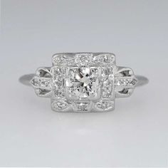 So many things I love about this one... Pretty 1920's Elaborate Diamond Engagement by YourJewelryFinder, $2350.00