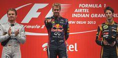 Nico Rosberg, Sebastian Vettel et Romain Grosjean sur le podium #India2013