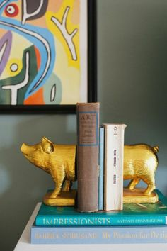 Bookends- Gold Pig Bookends