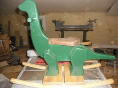 Children's Rocking Dinosaur: A simple and easy to make item for children old. To make this you will need Bandsaw Router with round over bit Screw gun Glue hardwood of your choice Paint Polyurethane Assorted brass wood screws Dowel Drill Additional he. Childrens Rocking Horse, Rocking Horse Plans, Rocking Horses, Wooden Crafts, Wooden Diy, Wooden Rocker, New Project Ideas, Brass Wood, Wooden Animals