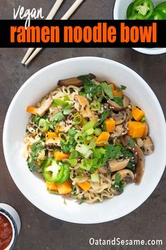 These homemade ramen noodles are packed with mushrooms, sweet potato and spinach. Done in about 30 minutes. Your kitchen will be filled with the incredible scents of onions, garlic, ginger and spices while you wait to slurp up a huge bowl of noodles. #RAMENNOODLES | #VEGANDINNER | #NOODLES | #SOUP | #VEGETARIANRECIPES | #ASIANNOODLES | #HealthyRecipes at OatandSesame.com #OatandSesame Best Pasta Recipes, Chicken Pasta Recipes, Vegan Breakfast Recipes, Delicious Vegan Recipes, Salad Recipes, Healthy Recipes, Homemade Ramen, Homemade Pasta, Curry Noodles