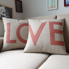 """Ojia 18 X 18"""" Cotton Linen Decorative Couple Throw Pillow Cover Cushion Case Couple Pillow Case, Set of 2 - Love Ojia, Valentine's Day #valentinesday #LOVE #valentinesdaygiftideas"""
