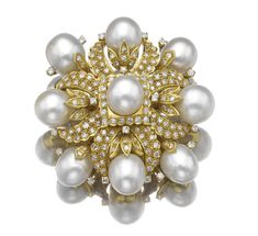 Cultured pearl and diamond brooch | Lot | Sotheby's