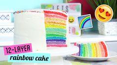 How to Make a TWELVE LAYER Rainbow Cake! | Kawaiisweetworld
