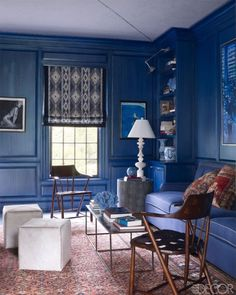 Oh happy room! Love all that vibrant blue and pair of vintage webbed-leather armchairs and a custom-made sofa in the home design decorating Blue Family Rooms, Blue Rooms, Blue Walls, Indigo Walls, White Walls, Azul Indigo, Color Walls, Elle Decor, Happy Room