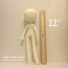 """12"""" muñeca delgada Base - patrón Amigurumi Crochet para personalizables personalizados mujer niña mujer cuerpo humano Anime realista figura peluche peluche"""