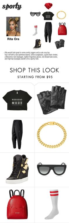 """""""Coordinating Accessories - Sporty"""" by ashmoneyhoney ❤ liked on Polyvore featuring Karl Lagerfeld, New Balance, Eklexic, Giuseppe Zanotti, CÉLINE, Love Moschino and Beautiful People"""