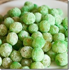 St. Patrick's Day - Leprechaun Candy or Glitter Grapes...Green grapes and Jell-o! :)
