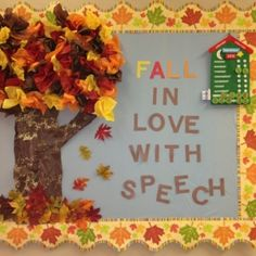 bulletin board ideas for speech therapist | Fall bulletin board for speech therapy by lee