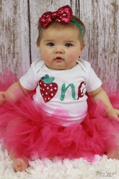 Strawberry Birthday Outfit Girl l Strawberry 1st Birthday Outfit for Baby Girls | Fruit Birthday | Summer First Birthday Outfit