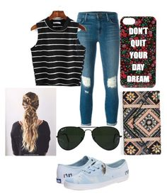 """Untitled #79"" by starry-night2021 ❤ liked on Polyvore featuring J Brand, Forever 21, New Look, Ray-Ban and Keds"
