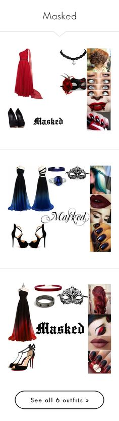 """Masked"" by wolf-demon on Polyvore featuring Jovani, Giuseppe Zanotti, Masquerade, Christian Louboutin, Boohoo, Fantasia by DeSerio, LORAC, Humble Chic, PLANT and Miadora"