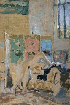 Interior with a Screen 1909/10 Vuillard Oil on paper laid sdown on cardboard & panel ART UK