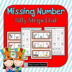 Missing Number - Silly Striped Cat Numbers 1-30  PlayLearnTeach  $