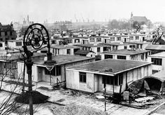 Prefabs around Galbraith St on the Isle of Dogs in 1946 Vintage London, Old London, East London, London Pictures, London Photos, Old Pictures, London History, British History, Isle Of Dogs