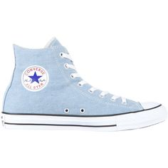 Converse Chuck Taylor All Star Denim Hi (520 HRK) ❤ liked on Polyvore featuring shoes, sneakers, converse, 18. converse., flats, dusty blue, unisex, flat shoes, flat pumps and star sneakers