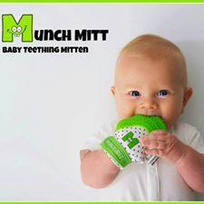 """THE """"HANDIEST"""" TEETHER YOU'LL EVER BUY! Suddenly your sweet, smiley little bundle of joy has turned into a cranky, drool-y munch monster - oh the joys of a teething baby!  Enter the Munch Mitt... the undroppable, unstoppable teething mitt. Made with food grade silicone, BPA and Phthalate free, the mitt is both convenient for parents and fun for babies.  Give your little one the gift of self-managing teething relief and yourself the gift of free hands!"""